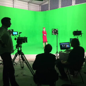 Clodagh Bowyer on green screen on set of -The Blair House- with Producer Francis O'Toole- Mercury Pictures