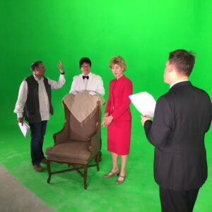 Clodagh Bowyer on green screen on set of -The Blair House- with Terry Bamber- Director