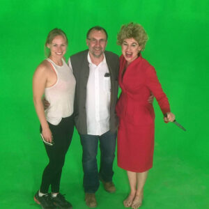 ~Clodagh Bowyer on green screen on set of -The Blair House- with Terry Bamber- Director